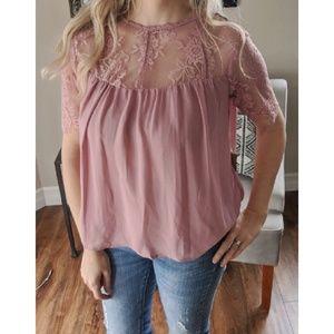 Tops - Mauve lace flowy sheer top blouse